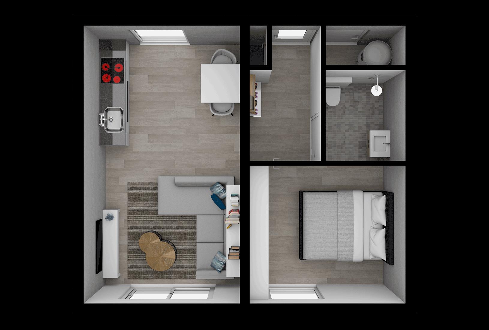 Tiny House_Type Alaska_Interieur plattegrond_Innoblox